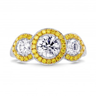 3 Stone Round White and Fancy Intense Yellow Diamond Halo Ring - Trois de Couleur, SKU 132844 (1.49Ct TW)