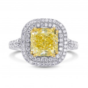 Fancy Yellow Radiant Diamond Double Halo Ring, SKU 133948 (3.35Ct TW)