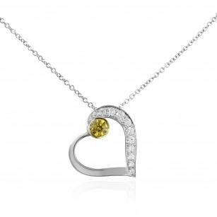 Fancy Intense Yellow and White Diamond Heart Pendant, SKU 136117 (0.15Ct TW)