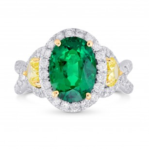 Emerald Oval and Yellow Heart Diamond Designer Ring, SKU 139367 (4.02Ct TW)