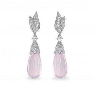 Diamond Drop Earrings with Rose Quartz, SKU 142879 (27.77Ct TW)