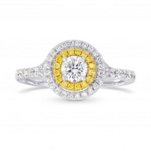 Round White and Fancy Intense Yellow Diamond Double Halo Ring, SKU 144861 (0.71Ct TW)