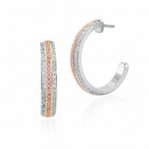 Fancy Pink and White Pave Diamond Hoop Earrings, SKU 145610 (1.24Ct TW)