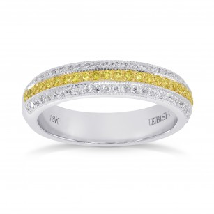 Fancy Intense Yellow and White Pave Diamond Milgrain Band Ring, SKU 147888 (0.58Ct TW)