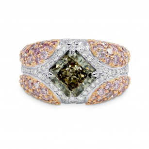 Green Radiant Pink Pave Diamond Ring, SKU 149392 (4.69Ct TW)