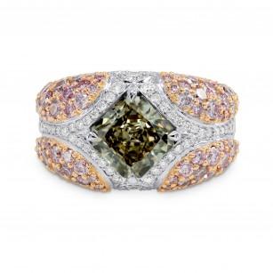 Green Radiant Pink Pave Diamond Ring, ARTIKELNUMMER 149392 (4,69 Karat TW)