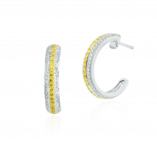 Fancy Intense Yellow and White Pave Diamond Hoop Earrings, SKU 149900 (1.29Ct TW)
