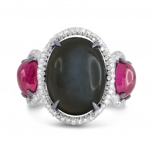 Black Moonstone, Ruby and Diamond Ring, SKU 150711 (12.59Ct TW)