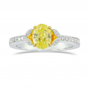Fancy Intense Yellow Oval & Pave Diamond Ring, SKU 153928 (1.28Ct TW)