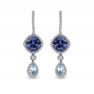 Tanzanite and Aquamarine Diamond Drop Earrings, SKU 154598 (7.00Ct TW)