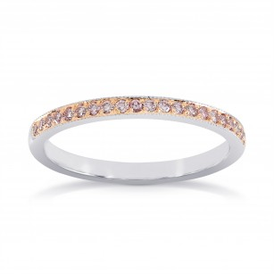 White & Rose Gold Fancy Pink Diamond Milgrain Band Ring, SKU 157536 (0.20Ct TW)