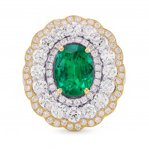 Green Oval Emerald Triple Halo Floral Ring, SKU 160148 (3.53Ct TW)