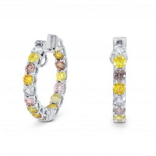 Multicolored Diamond Hoop Earrings, SKU 160165 (2.58Ct TW)