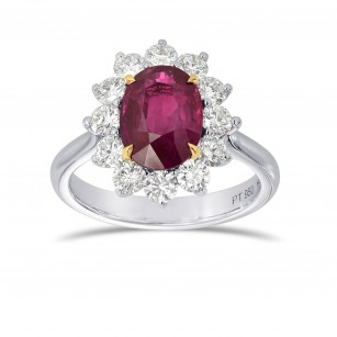 Platinum Oval Ruby and Diamond Basket Halo Ring, SKU 161256 (3.76Ct TW)