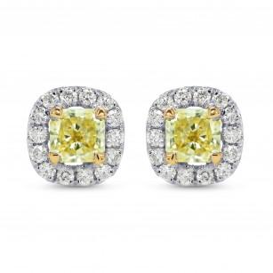 Fancy Yellow Radiant Diamond Halo Earrings, SKU 164316 (0.63Ct TW)