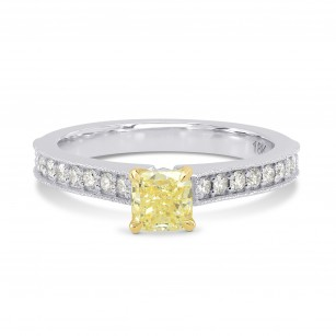 Fancy Yellow Cushion Diamond Ring, SKU 164317 (0.76Ct TW)