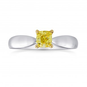 Fancy Intense Yellow Round Brilliant Diamond Solitaire Ring, SKU 164320 (0.50Ct)