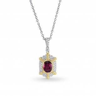 Mozambique Ruby, Intense Yellow and White Diamond Pendant, SKU 164491 (2.83Ct TW)