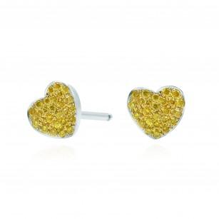 Fancy Intense Yellow Diamond Pave Heart Earrings, SKU 166807 (0.14Ct TW)