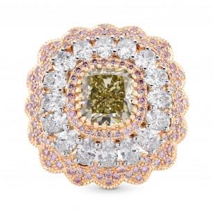 Extraordinary Fancy Grayish Yellowish Green Cushion Diamond Ring, SKU 166861 (4.48Ct TW)