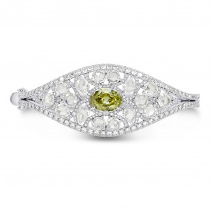 Extraordinary Greenish Yellow Oval & Rose-cut Diamond Bangle, SKU 167208 (12.53Ct TW)