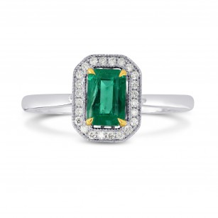 Vivid Green Emerald and Diamond Halo Ring, SKU 170555 (0.70Ct TW)