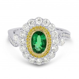 Vivid Green Emerald and Fancy Intense Yellow Diamond Ring, SKU 170737 (1.45Ct TW)