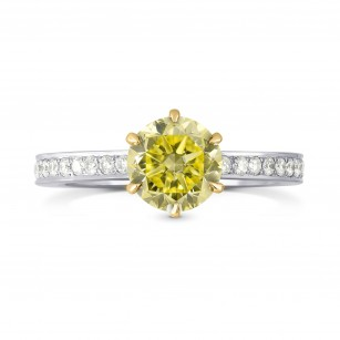 Six Prong Solitaire with Pave Diamond Side-stone Ring Setting, SKU 1711S