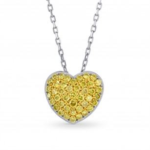 Fancy Vivid Yellow Diamond Pave Heart Pendant TW 0.41ct set in 18K Gold, SKU 17323 (0.43Ct TW)