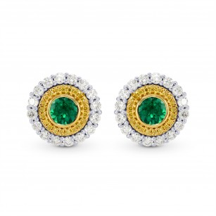 Vivid Green Emerald and Fancy Intense Yellow Diamond Earrings, SKU 177699 (1.21Ct TW)