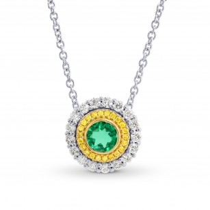 Vivid Green Emerald and Fancy Intense Yellow Double Halo Pendant, SKU 177700 (0.68Ct TW)