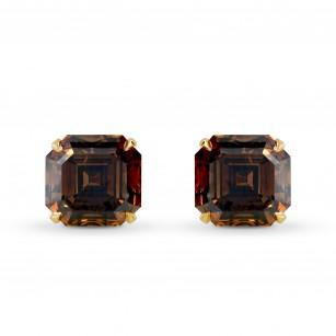Fancy Dark Orange Brown Diamond Stud Earrings, SKU 177707 (4.36Ct TW)