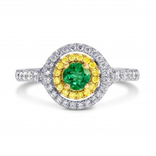Vivid Green Emerald and Fancy Intense Yellow Double Halo Ring, SKU 177799 (0.60Ct TW)