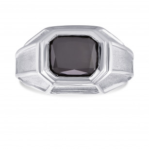 Platinum Fancy Black (Natural unheated) Radiant Diamond Men's Ring, SKU 177863 (3.42Ct)
