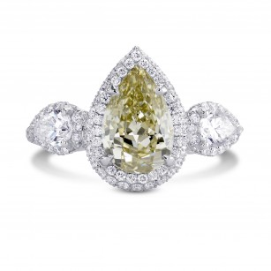 2.02cts Fancy Grayish Yellowish Green Pear Shape  3 stone Halo Ring, SKU 191957 (3.04Ct TW)