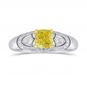 Fancy Intense Yellow Cushion Diamond Vintage Style Ring, SKU 192943 (0.95Ct TW)