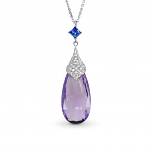 Amethyst briolette, Iolite and Diamond Pendant, SKU 194117 (16.83Ct TW)