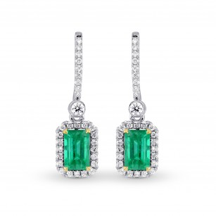 Vivid Green Emerald & Diamond Drop Earrings, SKU 196645 (1.54Ct TW)