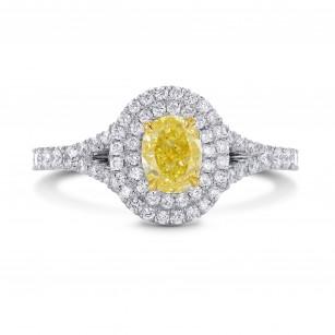 Platinum Fancy Intense Yellow Oval Diamond Double Halo Ring, SKU 197139 (1.02Ct TW)