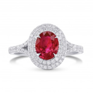 Oval Ruby and Diamond Double Halo Ring, SKU 197140 (1.49Ct TW)
