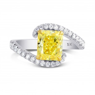 Fancy Intense Yellow Radiant Diamond Ring, SKU 199208 (1.88Ct TW)