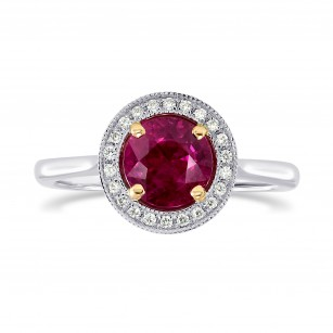 Ruby and Diamond Milgrain Halo Ring, SKU 200541 (1.08Ct TW)
