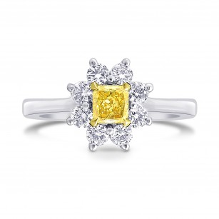 Fancy Yellow Cushion Diamond Floral Halo Ring, SKU 207848 (0.69Ct TW)