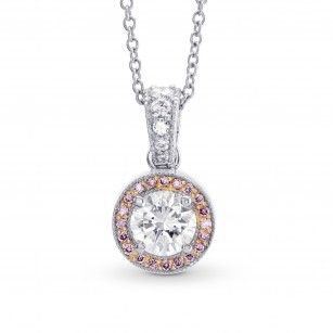 White and Fancy Pink Diamond Milgrain Halo Pendant, SKU 210914 (0.64Ct TW)