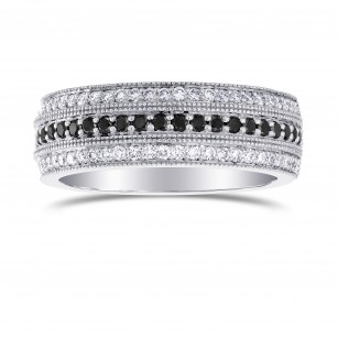 Wide Black Diamond Milgrain Wedding Band Ring, SKU 215469 (0.53Ct TW)