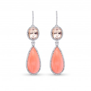 Pink Kunzite, Coral & Diamond Drop Earrings, SKU 223020 (23.06Ct TW)