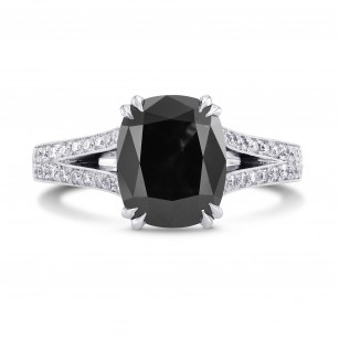 Natural Radiant unheated Fancy Black Diamond Engagement Ring with Pave, SKU 223136