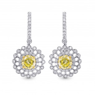 Fancy Yellow Round Brillant Halo Earrings, SKU 225029 (1.75Ct TW)