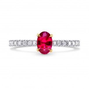 Oval Red Ruby & Diamond Ring, SKU 225507 (0.78Ct TW)