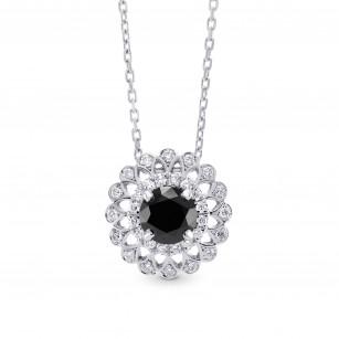Black Diamond Filigree Floral Halo Pendant, SKU 227743 (1.04Ct TW)